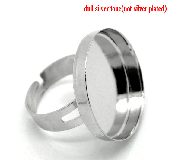 10 Silver Color Adjustable Ring Blank 18.3mm (B15396)