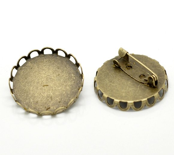 Antique Bronze Round Cabochon Frame Setting Brooches 27mm(Fit 25mm), sold per packet of 20 (B17207)