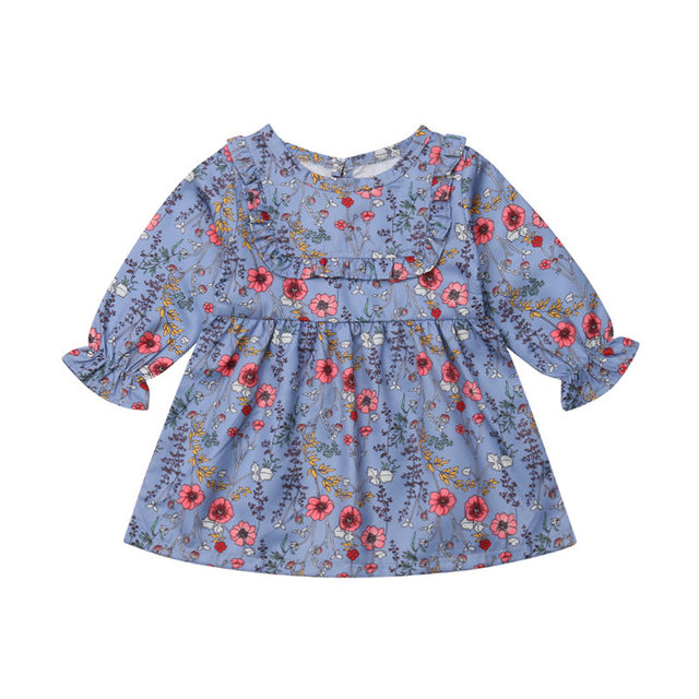 2018 Toddler Baby Girl Dress Children Floral Clothes Party Princess Tutu Dress Girl Long Sleeve Kid Clothing 1-6T