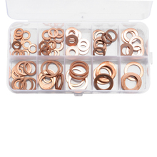 100pcs Copper Washer Gasket Nut and Bolt Set Flat Ring Seal Assortment Kit with Box M5-M14 Electrical Woodworking Washers Sets