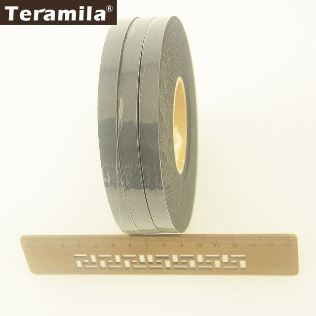 Teramila DIY Craft 210Yards 1CM Width 3 Rolls Black Adhesive Double Faced Tape Cotton Battings Synthetic Adhesive Tape F020#-6B