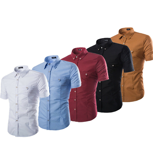 Men's Luxury Casual Formal Shirt Short Sleeve Slim Fit Business  Shirts Top
