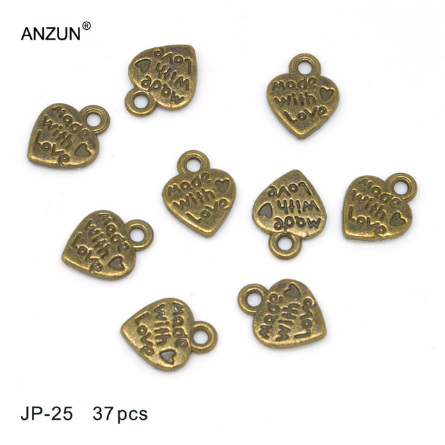 37pcs 12x10mm Antique Bronze Metal Charms Heart Pendant DIY Jewelry  Pendant Made with love tag for DIY wedding jewellry fitting