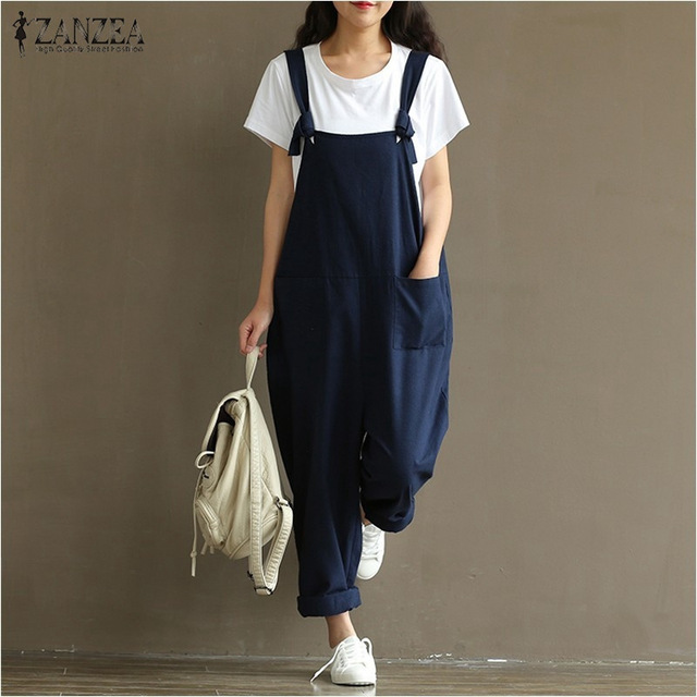 2020 Summer Autumn ZANZEA Rompers Womens Jumpsuits Vintage Sleeveless Backless Casual Loose Solid Overalls Strapless Paysuits