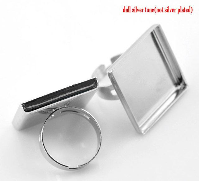 Lovely 10PCs Silver Color Adjustable Square Cabochon Setting Ring Blank Findings 18.7mm(US 8),(Fit 25x25mm) (B21493)