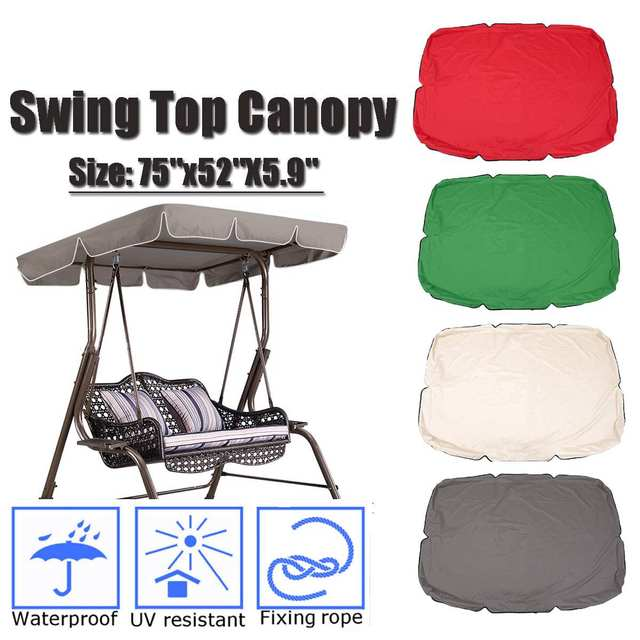 "75""x52""X5.9""Garden Swing Awning Waterproof Outdoor Gazebo Canopy Courtyard Swing Chair Hammock Tent Summer Sun Shade Sail"