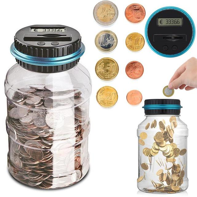 1.8L Piggy Bank Counter Coin Electronic Digital LCD Counting Coin Money Saving Box Jar Coins Storage Box For USD EURO GBP Money