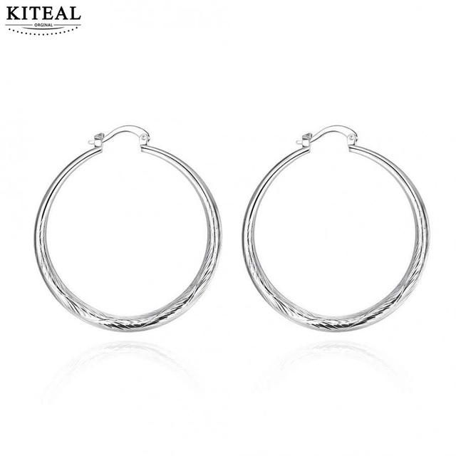 Hot New Fashion silver plated earrings Diameter 4.0CM round big circle hoop earrings for pendientes wedding/party/vacation