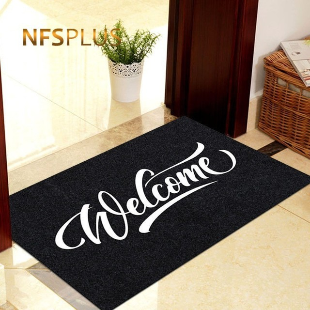 Welcome Front Door Mat Entrance Doormat 40x60cm Polyester Waterproof TPR Anti-Slip Hallway Floor Mat Durable Outdoor Door Carpet
