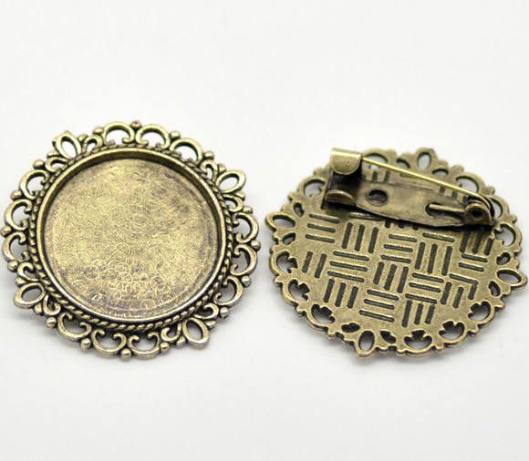 Antique Bronze Round Cameo Frame Setting Brooches 32mm(Fit 20.5mm), sold per packet of 10 (B16581)