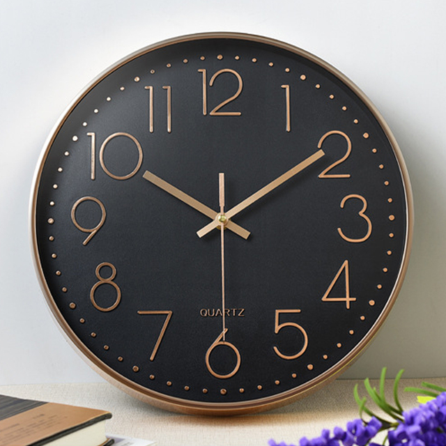 Quartz Clock Wall Clock Silent 12inch Digital Clock Hotel Ornament Livingroom Fashion Rose Gold Office Hanging Clock