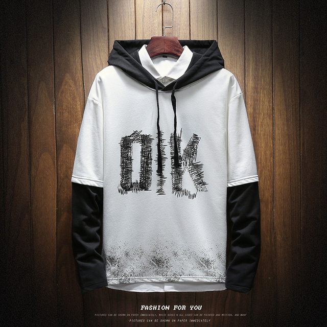 2019 Spring New Korean Style Men's Fashion Casual Hooded Pullover Sweatshirt Tide Solid Color Fake Two Pieces Hoodies Male M-5XL
