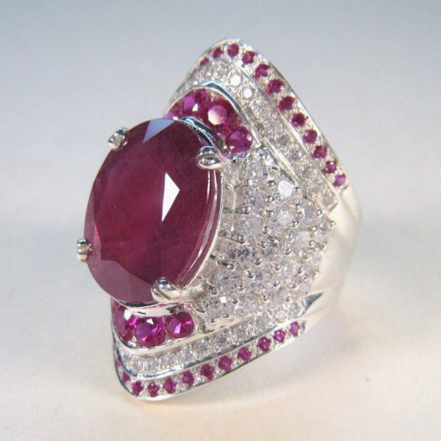 Luxury Full Crystal Big Red Stone Cubic Zirconia Rings For Women Fashion Exaggerated Wedding Engagement Party Rings