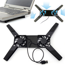 Universal Portable Mini 2 Fans Cooling Gear Fast USB Powered Heat Dissipation Pad Holder Stand for Laptop Notebook
