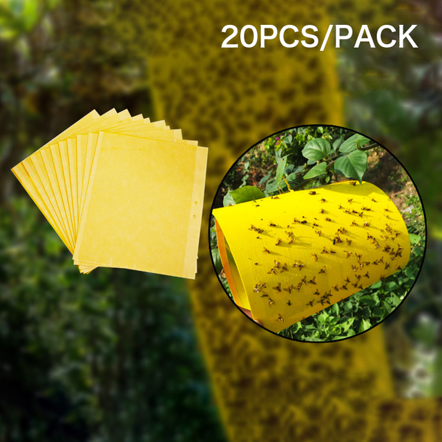 20PCS Strong Flies Traps Bugs Sticky Board Catching Aphid Insects Pest Killer Outdoor Fly Trap For Aphids Fungus GnatsLeaf D