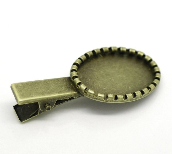 Lovely Antique Bronze Cabochon Setting Hair Clips 4.6x2.1cm(Fit 24.5x17mm), sold per packet of 20 (B17009)