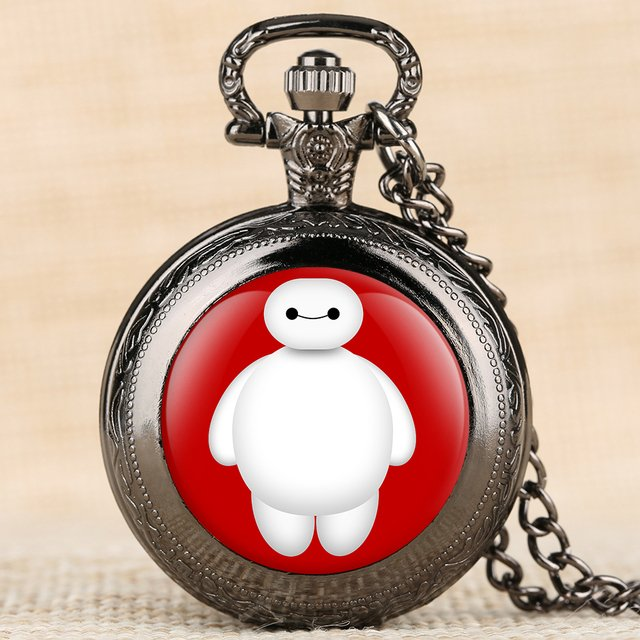 Movie Theme Quartz Pocket Watches Big Hero Cartoon Character Pattern Pocket Watch for Boy Arabic Digital Pocket Watches