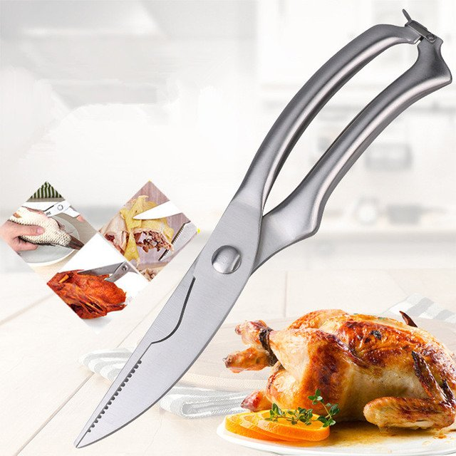 Stainless Steel Poultry Kitchen Chicken Bone scissor with Safe Lock Cutter Cook Tool Shear Cut Duck Fish