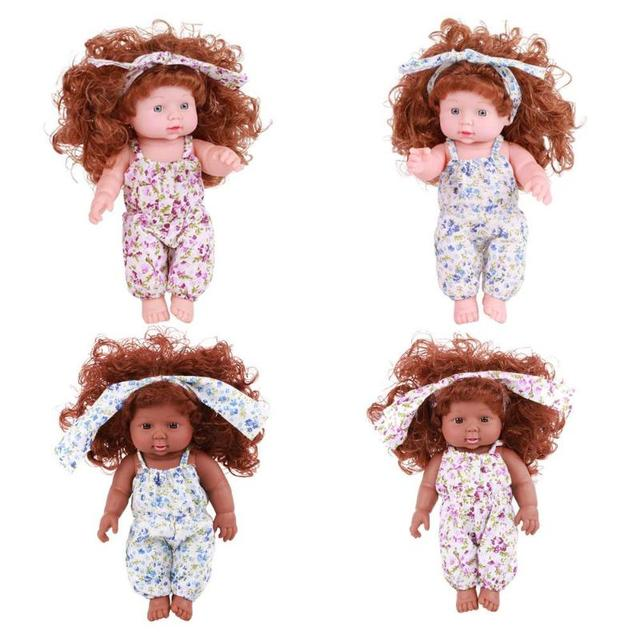 30cm Floral Dress Design Baby Simulation Vinyl Doll Children Sleeping Soothing Doll Toys Girls Pretended Play
