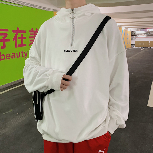 2019 Spring Trend Korean Version Of The Campus Wind Loose Small Fresh Solid Color Simple Men's Hooded Casual Pullover Sports