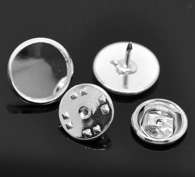 30 Sets Silver Plated Round Cabochon Setting Brooches 14mmx10mm 11mmx6mm(Fit 12mm) (B19579)