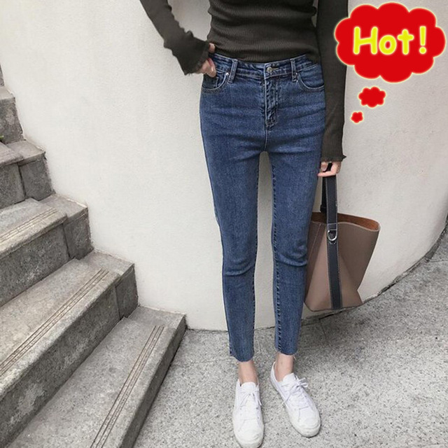 2019 Casual Skinny Jeans Women Fashion New Autumn High Waist Denim Pants Plus Size  Trousers Pencil Pants Female  G3P7