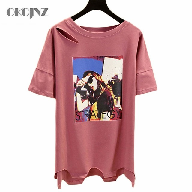 Printed Plus Size Casual Women T Shirt Loose Summer Tops Solid Hollow Out T-Shirt O-neck Short Sleeve Tee Shirt Femme Okq151