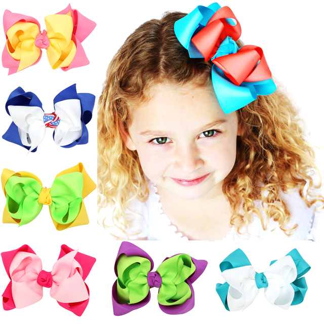 10Pcs/Lot Double Bows Baby Girls Hair Clips For Girls Grosgrain Ribbon Bows Children Bows Hairpins accessories