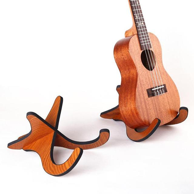 Portable Wooden Foldable Ukulele Holder Stand Collapsible Vertical Guitar Display Stand Rack Musical Instrument Part Accessories