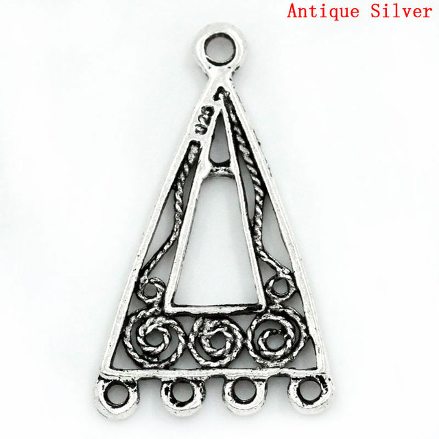 Lovely Connectors Findings Triangle Silver Color Hollow 25x15mm,50PCs (B24173)
