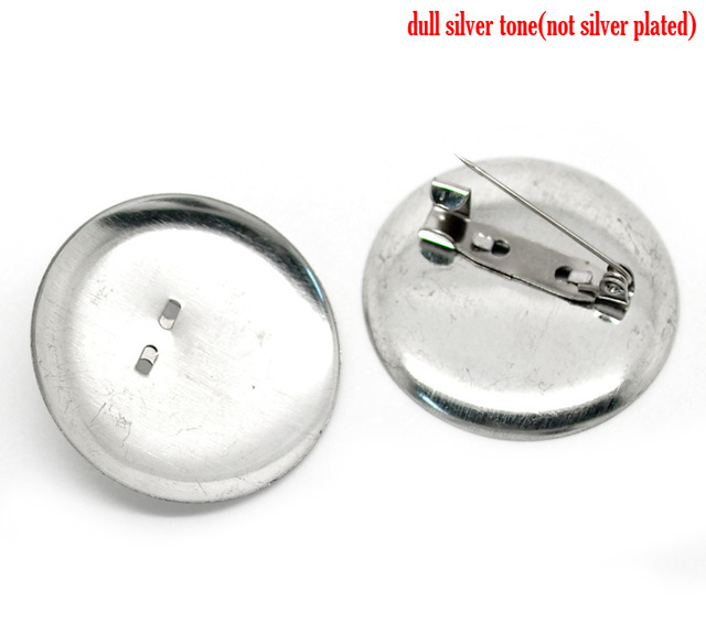 30PCs Silver Color Round Cabochon Setting Brooches 36mm Dia.(Fit 35mm Dia.)  (B18411)