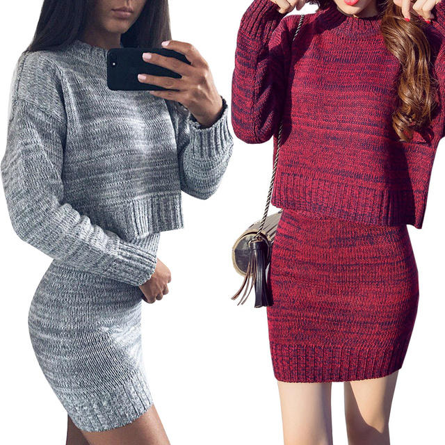 Winter Warm Knitted 2 Pieces Set Full Sleeve Thicken Cardigan Sweater Skirt Female Open Stitch Sweater Package Hip Skirt Suits