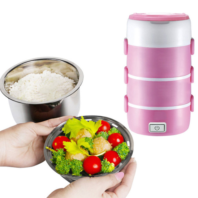 2-3 Layers Electric Rice Cooker 1-2L Multifunctional Picnic Box Steamed Rice Heating Food Portable Lunch Box Food Container
