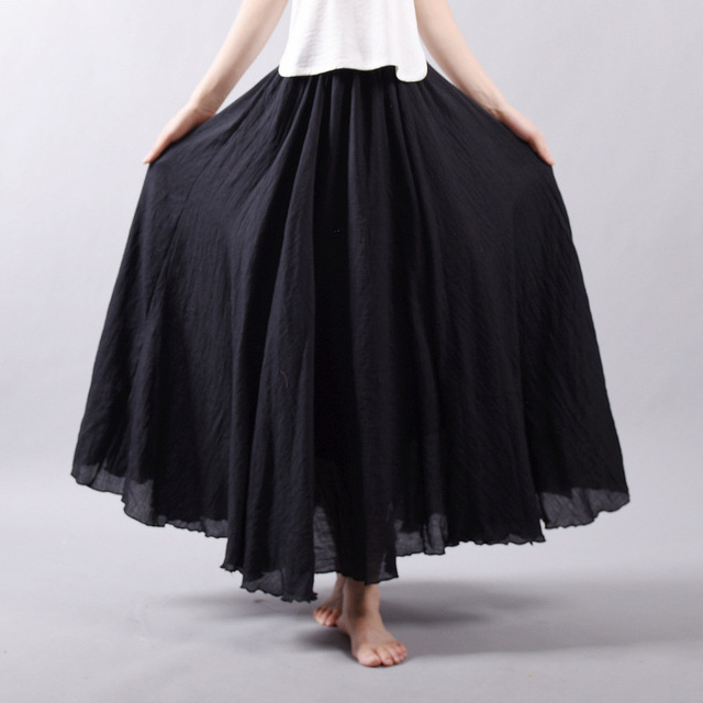 U-SWEAR Women Cotton Linen Skirt Long High Waist Large Size Elastic A Line Girls Skirts Pleated Sweet Solid Black Ethnic Vintage