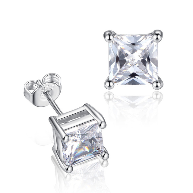 2Pcs Women's Fashion Ear Studs Silver-color Plated Earings with AAA Cubic Zircon Stud Earrings