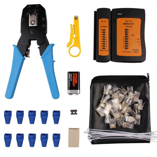 Elisona Professional RJ45 RJ11 RJ12 CAT5 CAT5e LAN Network Tool Kit Utp Cable Tester Plier Crimp Crimper Crimping Tool Kit