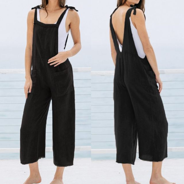 Celmia Oversized Summer Bib Jumpsuits Women Sleeveless Backless Vintage Linen Rompers Casual Solid Dungarees Plus Size Overalls