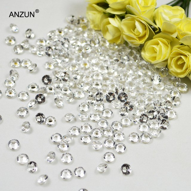 250pcs 10mm 4CT Acrylic Diamond Confetti Wedding Party Table Scatters Decoration Crystal