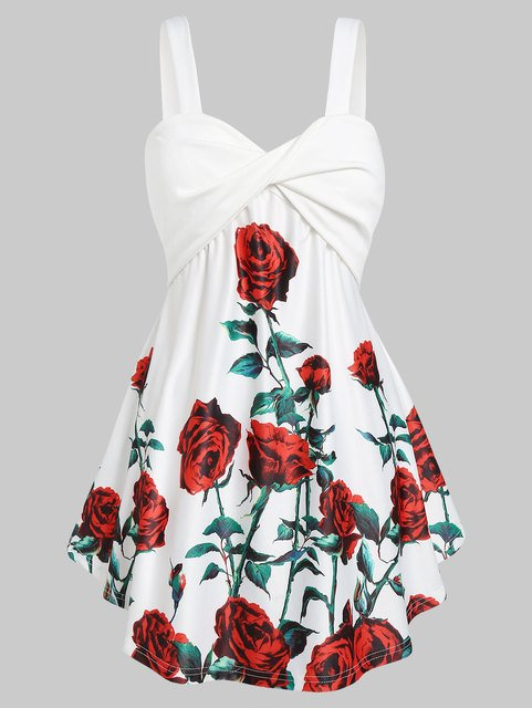 Wipalo Plus Size 5XL Floral Print Tank Top Casual Women Tops Tees Sweetheart Neck Sexy Sleeveless Vests Big Size Summer Tops