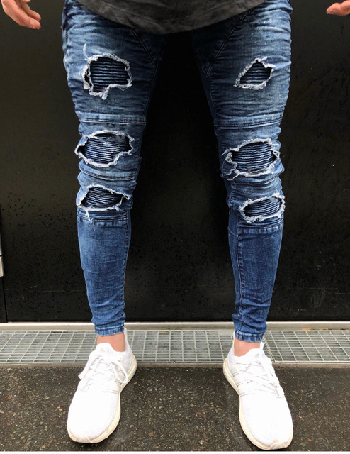 New Men Jeans Skinny Knee Ripped Hole Destroyed Stretchy Jeans Men Casual Personality Pleated Zipper Pencil Pants O8R2