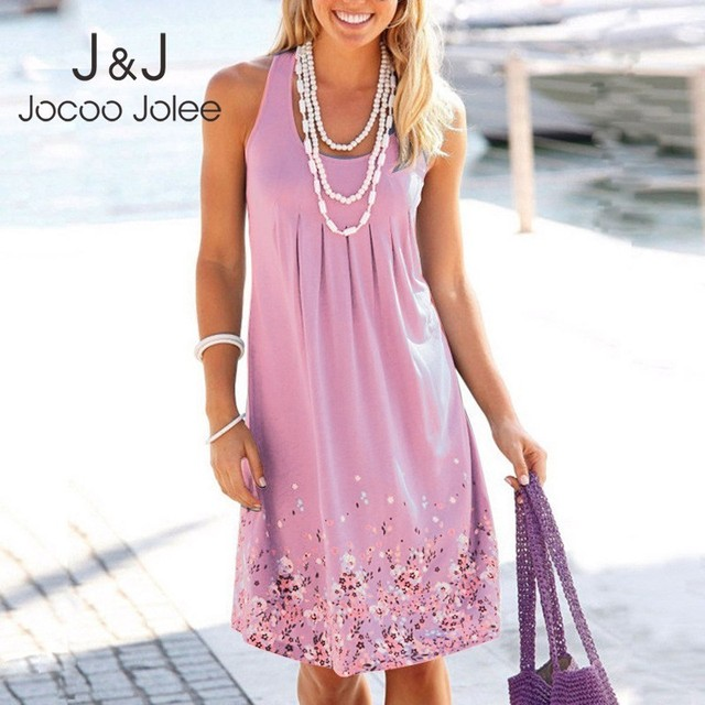 Jocoo Jolee Summer Loose Floral Print Pleated Dress 2019 Sexy Dress Plus Size 5XL Sundress Women Sleeveless Beach Dress Vestidos