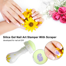 Clear Jelly Nail Stamper with Cap Nail Art Clear Silicone Marshmallow Stamper & Scraper Set Manicure Nail Art Stamping Kit