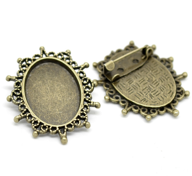 10PCs Antique Bronze Oval Cabochon Frame Setting Brooches 3.8cmx3.2cm(Fit 25mmx18mm)  (B19731)