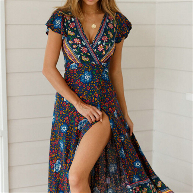 Women Boho Floral Printed Dress 2019 Summer Holiday Beach Long Maxi Evening Party Dress Chic Ethnic Style V-neck Split Dresses