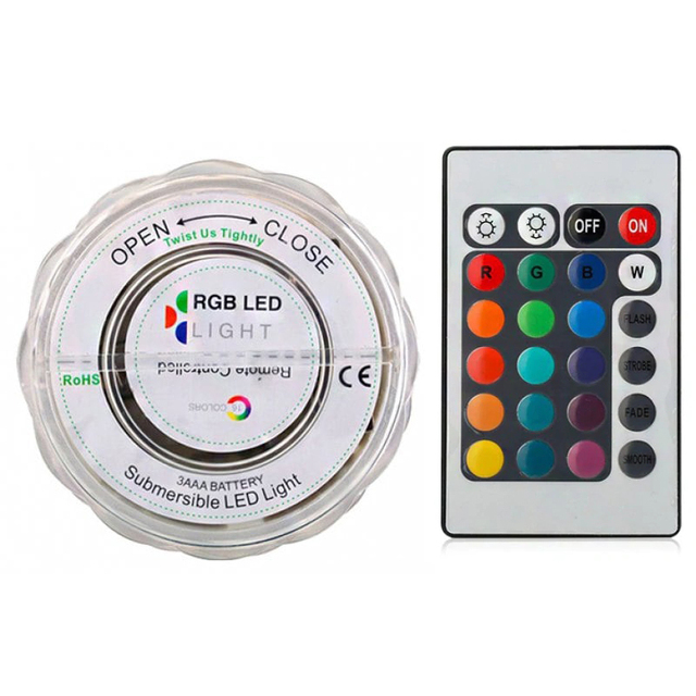 10 LED Pool Light Remote Control Underwater Light Waterproof RGB Multi-Color Battery Powered Diving Vase Decoration