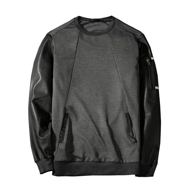 Fashion hoodie Mens Round Neck Splice Long Sleeve Casual Hoodies Tops Clothes