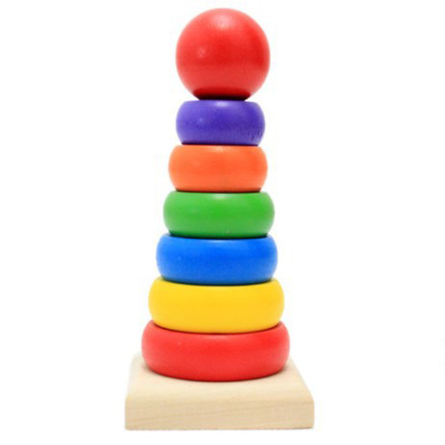 Wooden Rainbow Tower Stacking High Blocks Board Stack Up Intelligence Set Tower Ring Wooden Blocks Early Education Toys