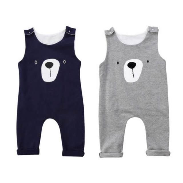 New Newborn Toddler Infant Baby Boy Girls Clothes Bear Romper Playsuit Jumpsuit Sleeveless Cartoon Outfit Set 0-24M