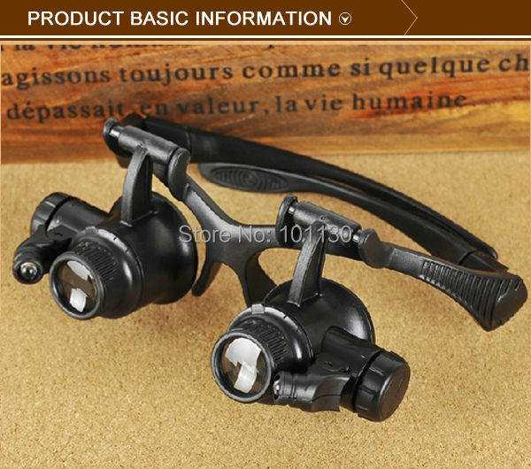 Hands Free Head Helmet Magnifier Eye Glasses Louper With LED Light and 4 Sets lenes