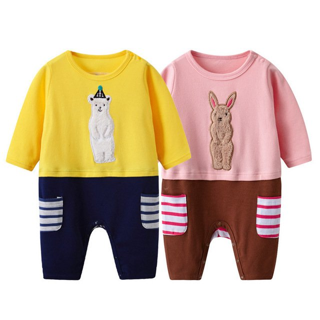 New Pattern Baby Kids Clothes Set Girls Baby Long Sleeve Pure Cotton Climb Clothes Spring Dress Thin Section Newborn Clothes
